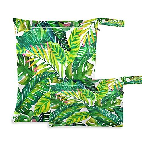 2 bolsas húmedas para pañales de tela, impermeables, diseño de hojas de palma tropicales, reutilizables, lavables, para viajes, playa, yoga, gimnasio, para trajes de baño, ropa húmeda
