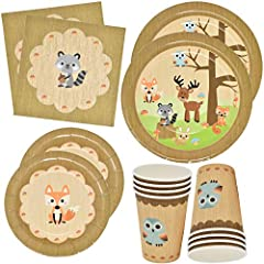 "WOODLAND ANIMAL PARTY SET SERVES 24: Gift Boutique woodland animal party set includes 24 9"" dinner plates featuring a wood background with a variety of woodland animals. The 24 7"" plates features a matching wood background with a fox on it, the 24 9""..."