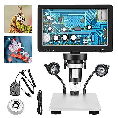 SEAAN Digital Mikroskop 1200X- 7 '' HD Drehbarer Bildschirm - 12MP Pixel - 1080FHD - 8 LED Fülllicht - Micro/USB 2.0 - Kabelcontroller, Professionelles LCD-Mikroskop für Wissenschaft