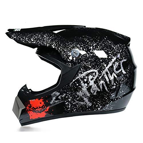 GENGJ Herren Motocross Helm Cross Helm Set Mit Brille/Handschuhen/Maske, Motorradhelm...