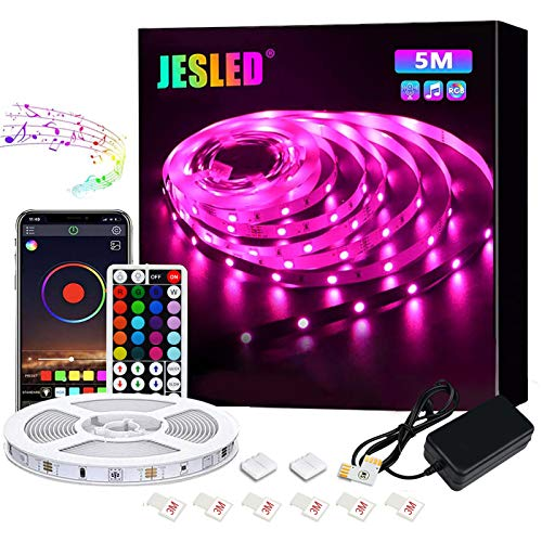 JESLED Tiras LED 5M, Sincronización de música Bluetooth, control de aplicaciones, Remoto de 44 Botones, 5050 RGB LED Strip, para Habitacion, Hogar, Bar, Fiesta, Restaurante