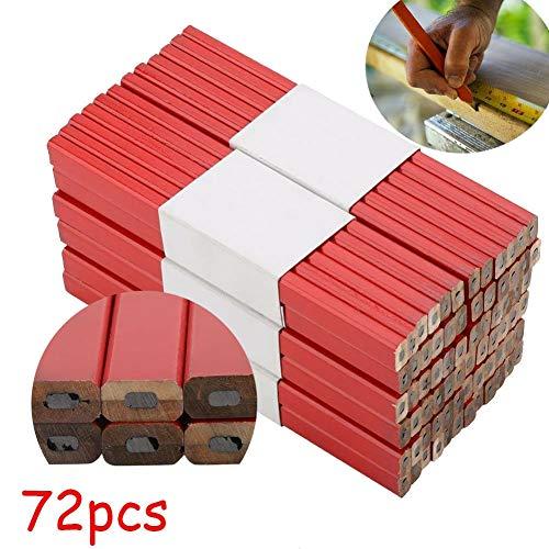 Lápices de carpintero, 72 unidades, 175 mm, octogonal, rojo, duro y negro, para carpintero, carpintero y carpintería, herramienta de marcación