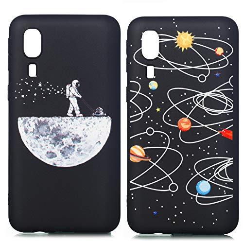 YKTO Funda para Samsung Galaxy A2 Core Carcasa Suave Anti-Rasguño Silicona Case [2 Pack] Ultra Delgada Ligera Cover Romántico Hermoso Bonita Cielo Estrellado Diseño Tapa Universo