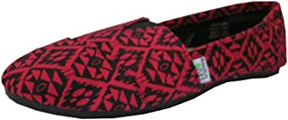 Easy USA Womens Canvas Slip On Shoes Flats Diamd Red-9