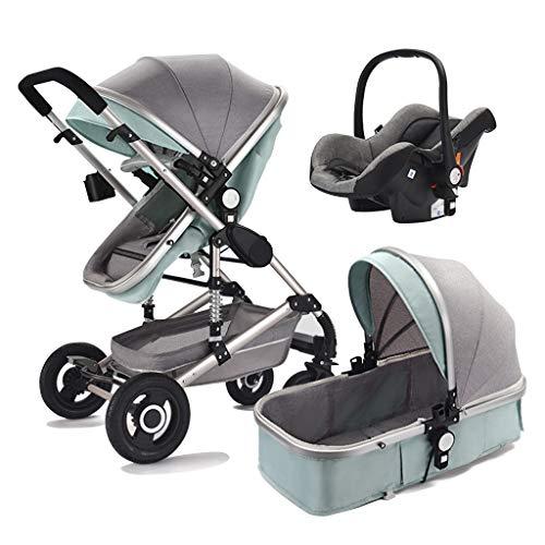 Cochecito de bebé multifuncional para sentarse y reclinarse, cochecito de bebé tres en uno, cuna móvil multifuncional, funda para pies caliente gratuita, adecuada para bebés de 0 a 4 años, sistema d