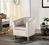 WestWood Modern Crush Velvet Fabric Tub Chair Armchair Lounge Dining Living Office Room Home Furniture TC12 Cream New