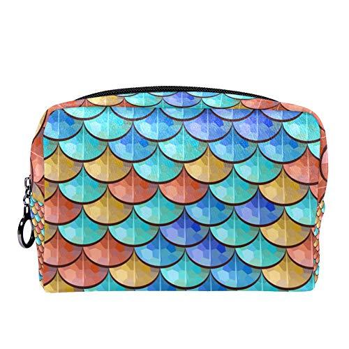 TIZORAX kleurrijke rivier vis weegschalen make-up tas toilettas voor vrouwen huidverzorging cosmetische handige zak rits handtas