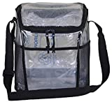 Amaro Delux 0.55mm Clear Large Compartment Lunch Bag for Adult |6 Pack See Through Reusable Lunch Box for Workplace Men and Women Adjustable Shoulder Strap I Large Side Mesh Pockets I Removable insert
