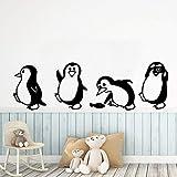 Tianpengyuanshuai Murales creativos de pingüinos Pegatinas de Pared Removibles para Habitaciones de niños Pegatinas de Dormitorio 87X129cm