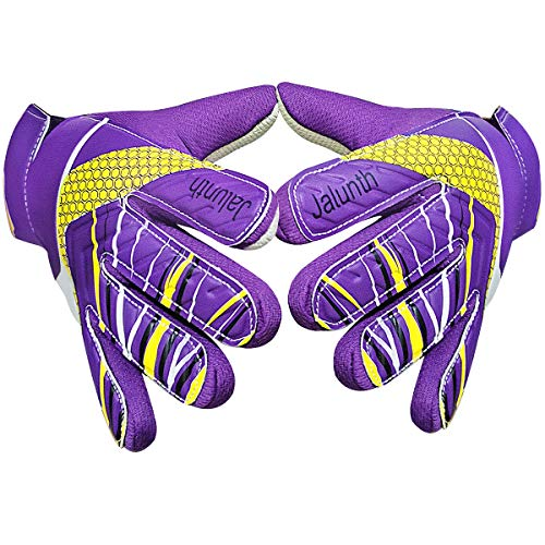 Goalkeeper Goalie Soccer Gloves - Kids & Youth Football Goal Keeper Gloves with Embossed Anti-Slip Latex Palm and Soft PU Hand Back (Purple, 5)