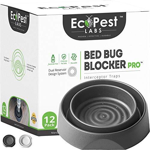 Bed Bug Interceptors - 12 Pack   Bed Bug Blocker (Pro) Interceptor Traps (Black)
