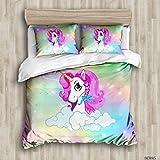 AMCYT Juego de ropa de cama, diseño de poni arcoíris, unicornio arcoíris, adecuado para otoño/invierno verano niña ropa de cama 2/3 piezas, microfibra suave y antiarrugas, 1, 220*260