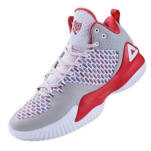 Peak - Zapatillas de baloncesto para hombre, transpirables, antideslizantes, acolchadas al aire libre, Gris (Gris&rojo), 41 EU