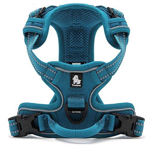 Tineer Reflektierendes Nylon großes Haustier Hundegeschirr 3M reflektierende Weste mit Griff Allwetter-Hundedienst gepolsterte justierbare Sicherheits-vehicular führt für Hunde Haustier (XL, Sky Blue)