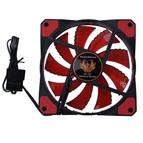 Deliu Ventilador de Caja de PC de computadora Ultra silencioso LED de 120 mm 15 LED 12V Luz roja de fácil instalación 15pcs