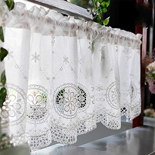 HXSM Kaffee Vorhang Weiß Bistrogardine Küchengardine Aus Baumwolle Häkelgardine Kurzgardine Amerikanisches Land Art