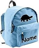 ShirtInStyle Kinder Rucksack Schildkröte, mit Name veredelt, ideal für Kita, Farbe hellblau