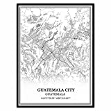 Guatemala Stadt Guatemala Karte Wandkunst Leinwand drucken
