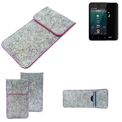 K-S-Trade Handy Schutz Hülle Für Allview P42 Schutzhülle Handyhülle Filztasche Pouch Tasche Hülle Sleeve Filzhülle Hellgrau Pinker Rand