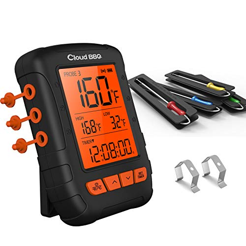 Wireless Meat Thermometer Cloud BBQ Bluetooth Food Thermometer for Grilling Fast Digital Kitchen Thermometer with 4 Probes, 500FT Meat Thermometer for Smoker Oven Food