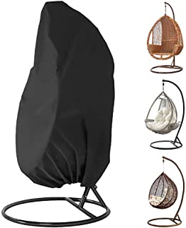 Egg Chair Cover, 91x79 Inch BicycleStore Waterproof Patio Hanging Swing Chair Cover Black Water Resistant Outdoor Hammock ...