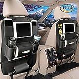 happyle Rückenlehnenschutz, Pu Leder Auto Rücksitz Organizer und iPad Mini Halter, Universalgebrauch als Autositz Organizer für Kinder,Auto Organizer (Schwarzes)