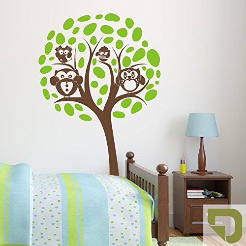 DESIGNSCAPE® Wandtattoo Baum mit Eulen und Blättern 58 x 90 cm (Breite x Höhe) Farbe 1: oliv DW808015-S-F100