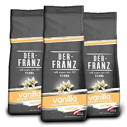 Der-Franz - Café mezcla de Arábica y Robusta, Tostado, Granos Enteros Aromatizados con Vainilla Natural, Certificación UTZ, en Grano, 3 x 500 g
