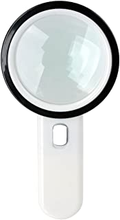 12 LED Lighted Magnifier 20X Handheld Reading Loupe Magnifier 105mm, Battery Powered Illuminated Magnifying Glass for Reading,Inspection,Coins,Rock,Science,Craft and Hobby