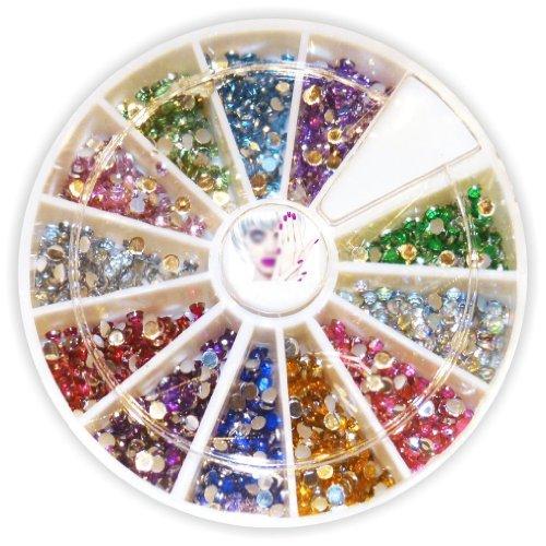 Rondell mit mehr als 900 Strasssteine Ø 1,5mm rund - schöne verschiedene Farben - Nail Art Strass Set Steinchen Flitter