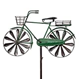 CIM Metall Gartenstecker mit Windrad - Bicycle City Bike - wetterfest - mit Antik-Effekt - Windräder: Ø16cm, Motiv: 38x9cm, Gesamthöhe: 130cm – attraktive Gartendekoration