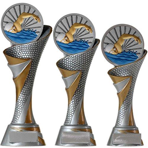KDS FG Pokal L Trophäe Schwimmen Schwimmsport mit Emblem 70 mm aus Resin Kunstharz massiv ca. 26 cm hoch