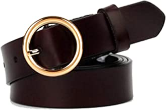 Jeans Shorts With Metal Buckle Soft Wide Leather Belt Casual Belt (Color : Coffee)