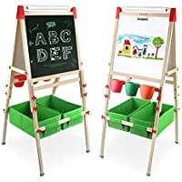 Arkmiido 4en1 Madera Caballete de para Niños, Altura Ajustable, con rollo de papel y caja de almacenamiento
