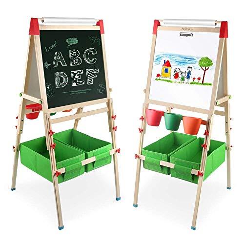 Arkmiido Staffelei Spieltafel Multifunktions Zweiseitiges Zeichenbrett Holz mit Aufbewahrungsbox und Zubehör