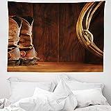 ABAKUHAUS Western Wandteppich und Tagesdecke, Cowboy Wild Sport, aus Weiches Mikrofaser Stoff Moderner Digitaldruck Waschbar, 150 x 110 cm, Umbrabraun Braun