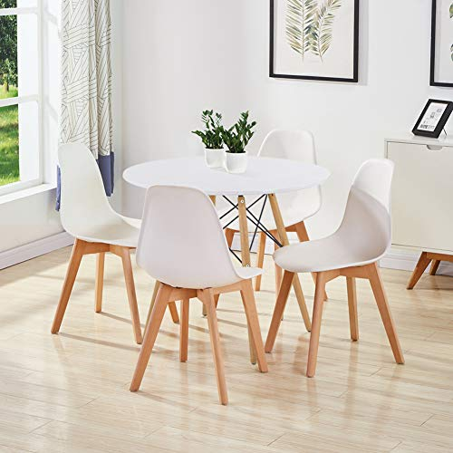 GOLDFAN Dining Table and Set 4 Plastic Chairs Kitchen Table Modern Wood Round Dining Room Set, 80cm, All White