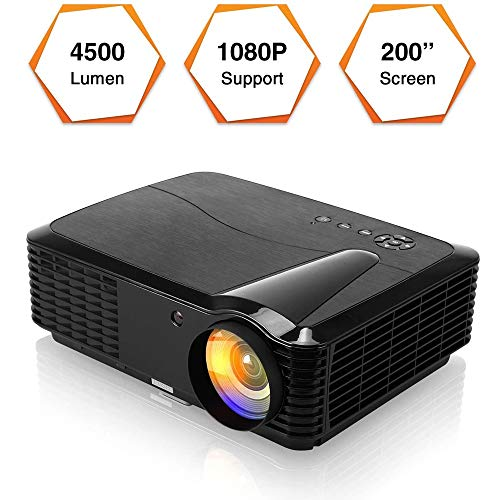 HD 3D projector LED Movie Projector Indoor Outdoor Cinema 4500 Lumens Digital LCD Home Projectors Zoom Support 1080P HDMI USB VGA AV Audio for iPhone iPad Android Laptops