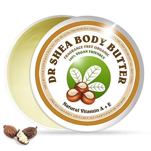 Dr. Shea Manteca hidratante sin fragancia - Crema nutritiva para el cuidado de la piel - 100% vegana orgánica ideal para pieles secas y sensibles, antienvejecimiento natural todos los días (200 ml)