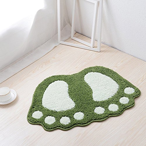 JIAN YA NA Non Slip Bath Toilet Mat Cute Big Feet Bathroom Shower Rugs Shaggy Carpet Absorbent Doormat Floor Mat Living Room Sofa Cushion Foot Pad Rug (16'x24'(40x60CM), Green)