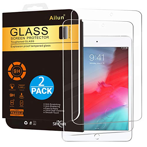 Ailun Screen Protector for iPad Mini 4, iPad Mini 5 2019 2Pack Tempered Glass 2.5D Edge Ultra Clear Transparency Anti Scratches Case Friendly