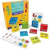 Tinydimple Ausdrucks-Puzzle-Bausteine, Kreative Das Gesicht VeräNdernde Denk-Training, Lernspielzeug, Eltern-Kind-Brettspiel-Holz-Herausforderung
