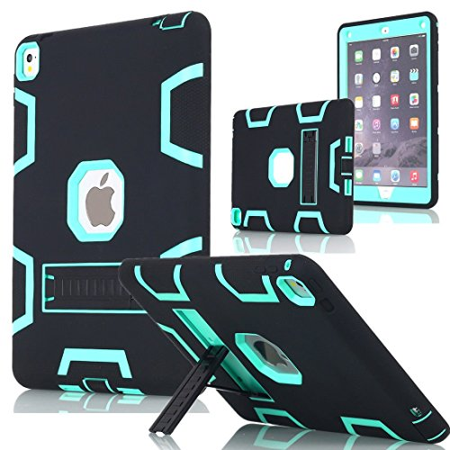 iPad Pro 12.9' Case, AICase Heavy Duty Hybrid Shockproof Hard Case Cover Rubber Stand for 2017(A1670/A1671) Apple iPad Pro 12.9 inch (Black/Mint Blue)