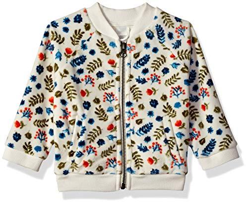 Gymboree Baby Girls Long Sleeve Zip Up Jacket, Ivory Leaf Velour, 0-3 Mo