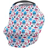 Baby Car Seat Covers for Newborns Cartoon Jellyfish Seahorse and Starfish Carseat Cover for Girl Boy Soft and Breathable Healthy Fabric Stretchy Adjustable Nursing Breastfeeding Covers 26x27.6inch