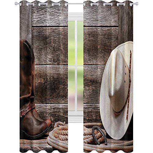 Room Darkening Blackout Curtains Western American Southern Rodeo W52 x L63 Blackout Curtain for Living Room