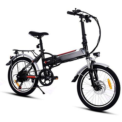 begorey Lega di Alluminio Telaio Pieghevole Mountain Bike 36V 250W Bicicletta elettrica con Grande capacità Batteria al Litio e Caricatore