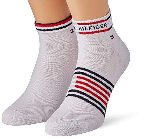 Tommy Hilfiger Breton Stripe Men's Quarter Socks (2 Pack) Calcetines, blanco, 39-42 para Hombre