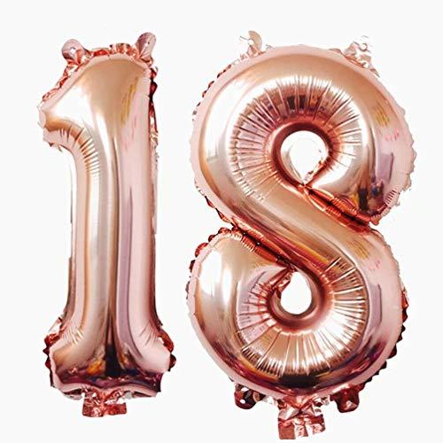 Ouinne Globo 18 Años, 40 Pulgadas Globo del Cumpleaños Número 18 Helio Globos para La Decoración Boda Aniversario (Rosa)