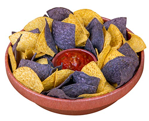 Nostalgia Taco Tuesday 10-Inch Tortilla Chip & Salsa Bowl, Perfect For Potato Chips, Pretzels, Veggies, Ranch, Guacamole, Dips, Hummus, Brown